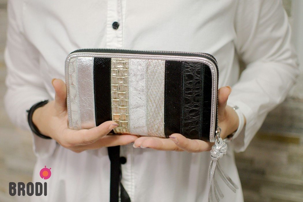 Wallet FLORA Black and Silver