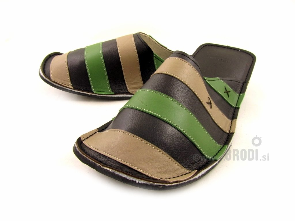 Gal Black with Beige and Green Stripes