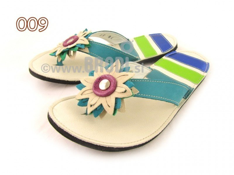 Flip-flops Mimi Beige and Blue Different Decorations