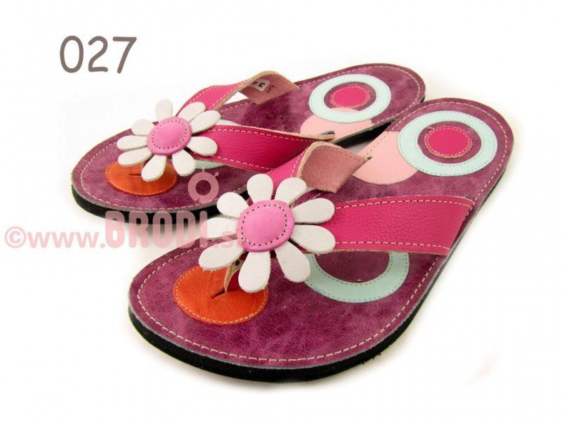 Flip-flops Mimi Fuchsia with Circles Different Decorations