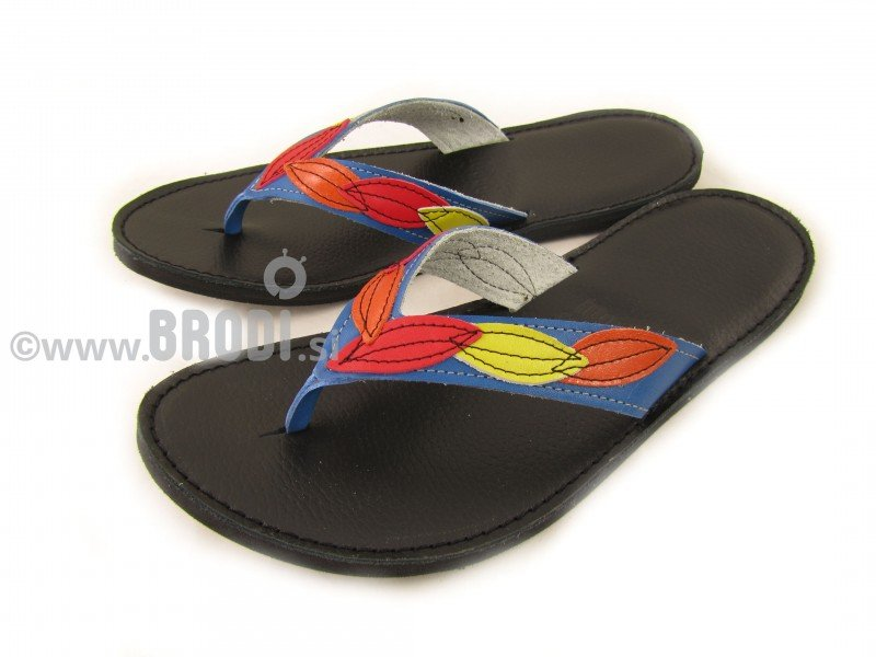 Flip-flops Mimi Black with Leaves