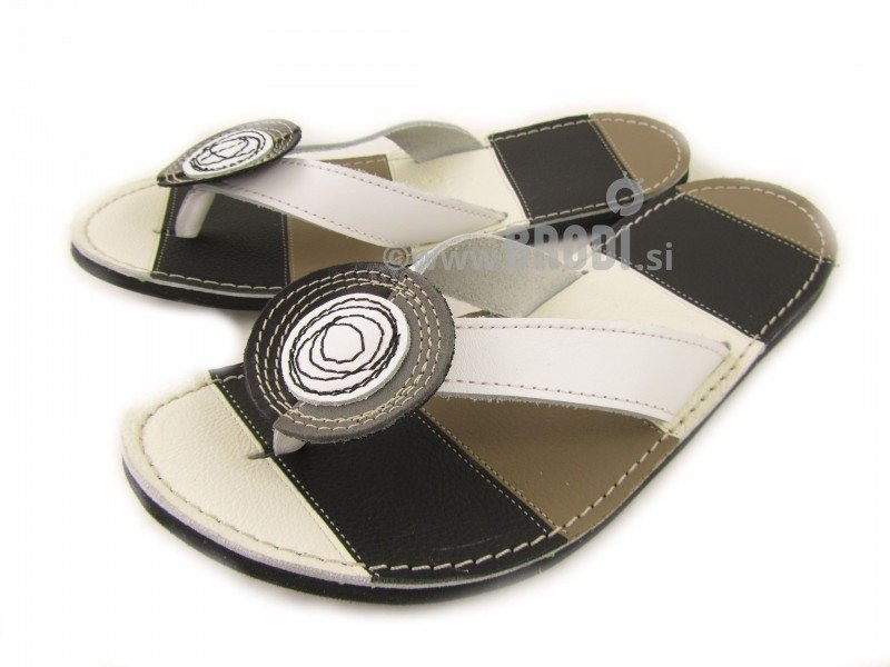 Flip-flops Mimi White with Brown Different Decorations