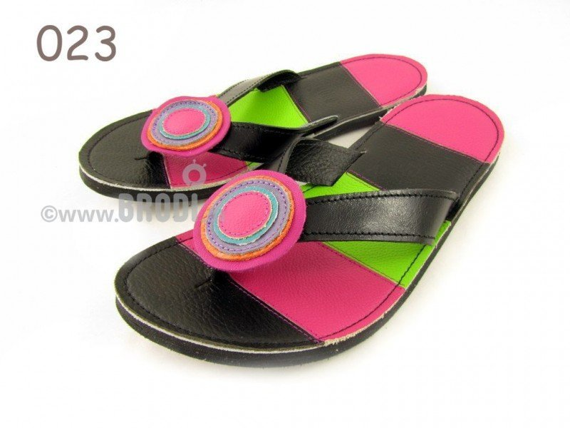 Flip-flops Mimi Black and Pink Different Decorations