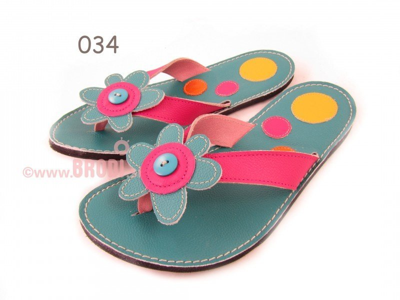 Flip-flops Mimi Blue with Circles Different Decorations