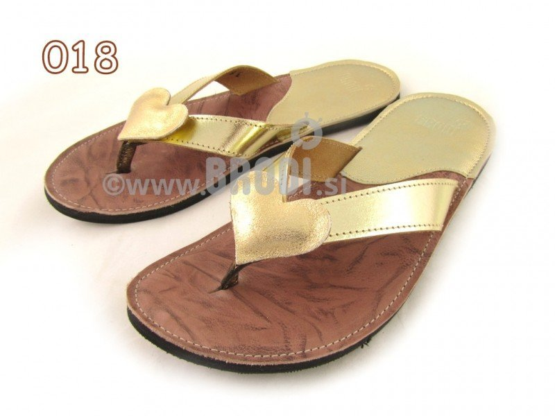 Flip-flops Mimi Gold and Brown Different Decorations