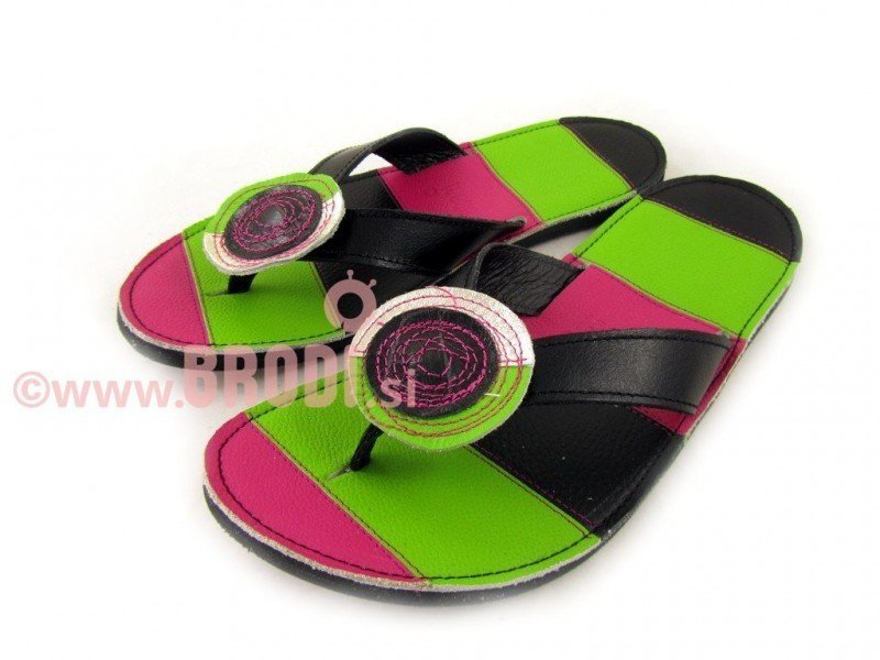 Flip-flops Mimi Black and Green Different Decorations