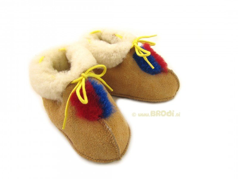 Natural Fur Baby Slippers Brown