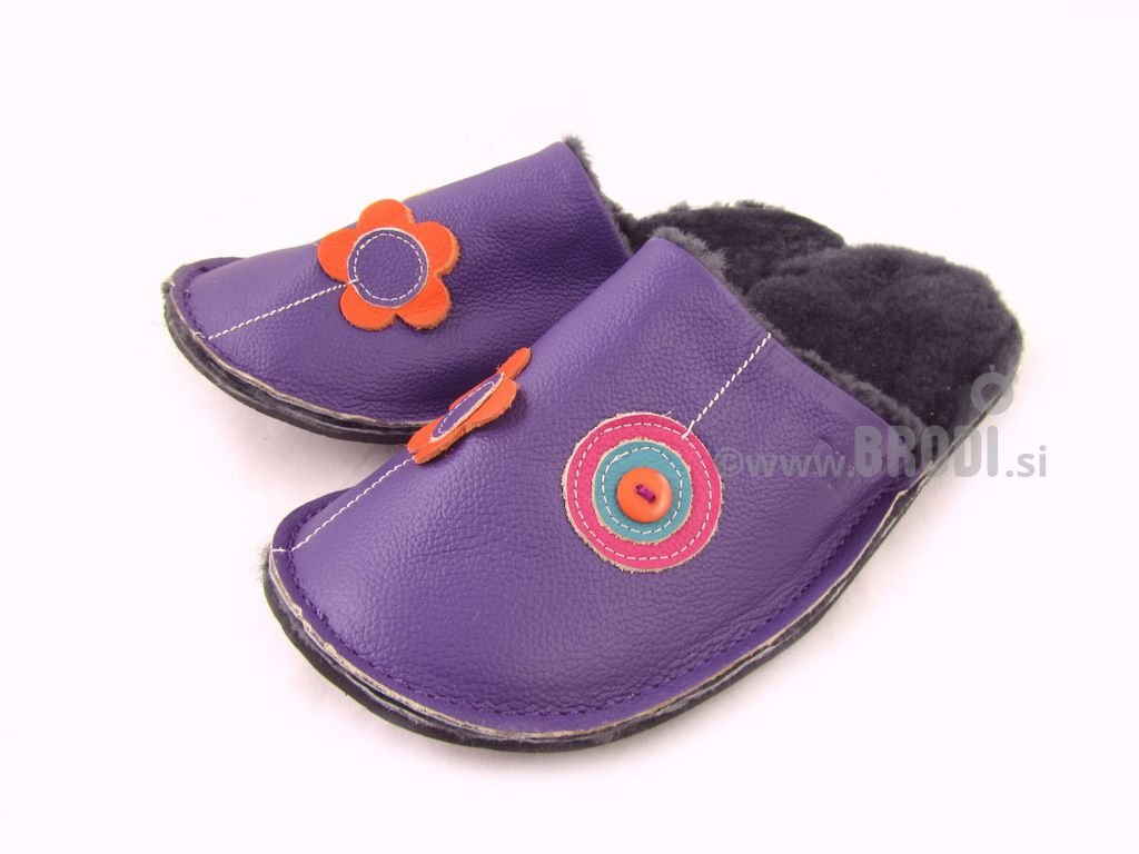 Natural Fur Slippers Mrasko Violet