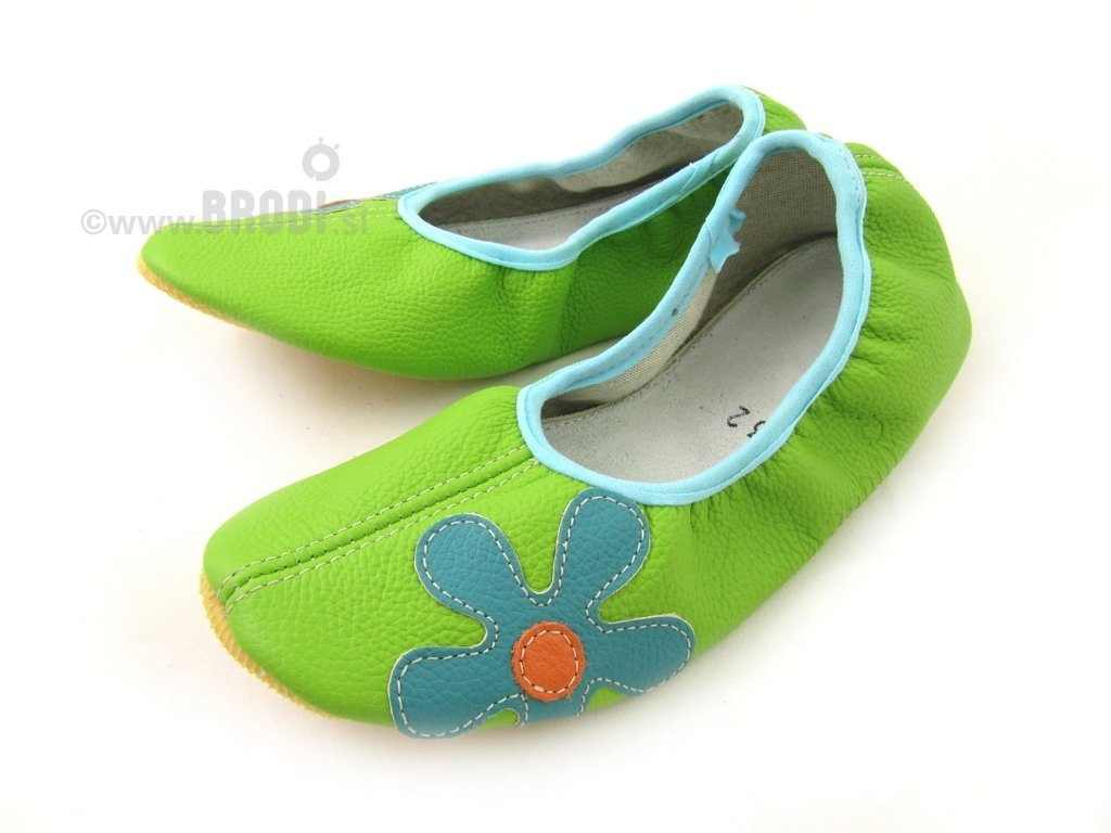 School Slippers Green with Flower