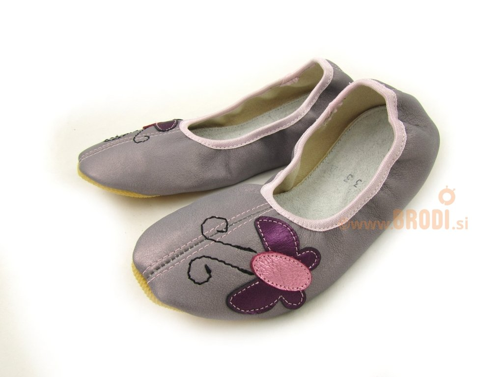 School Slippers Grey with Butterfly