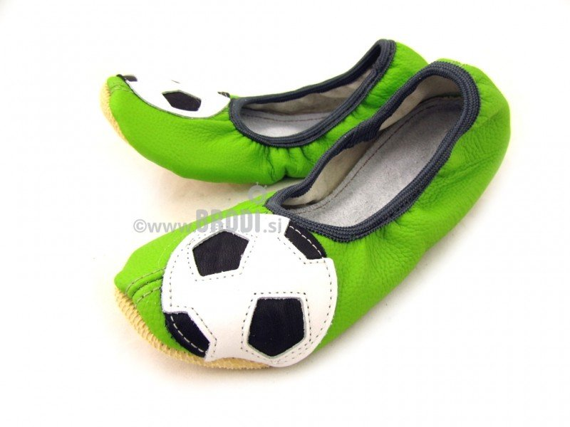 School Slippers Green with Ball