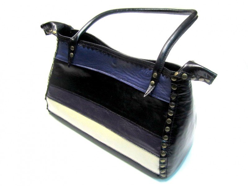 Handbag Mina Black and Violet