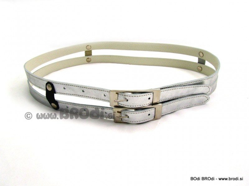 Leather Belt Alja Silver