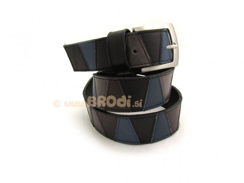 Leather Belt Black with Blue