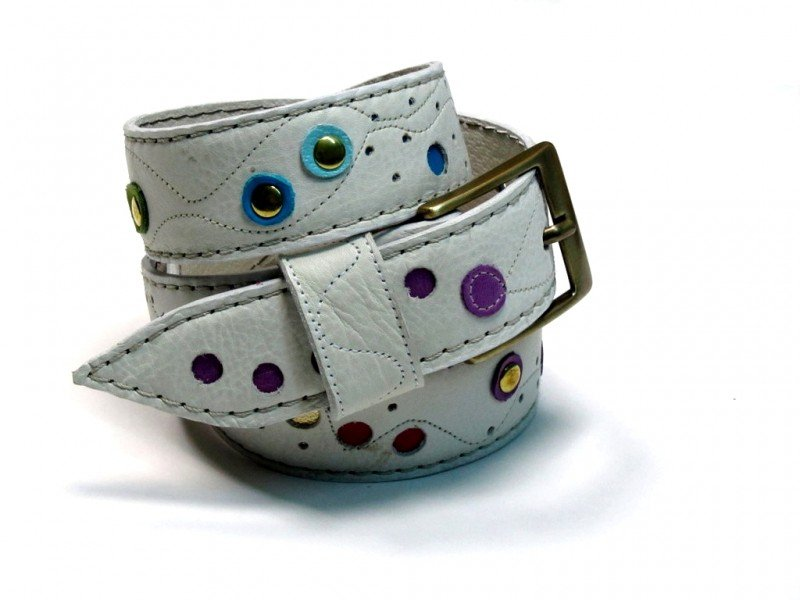 Leather Belt Kiri White with Dots