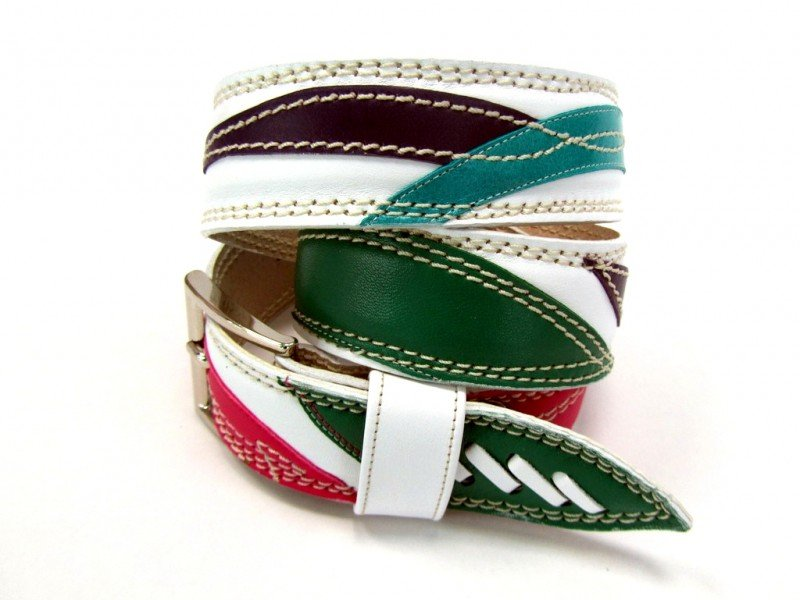 Leather Belt Kiri White with Waves