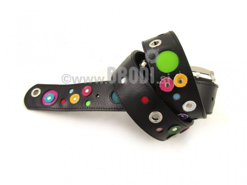Leather Belt Kiri Black with Dots