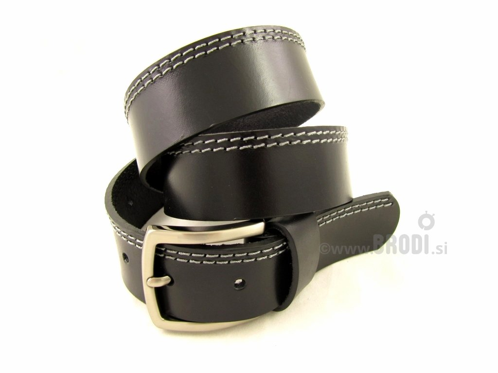 Leather Belt Kiri Black with Stitches