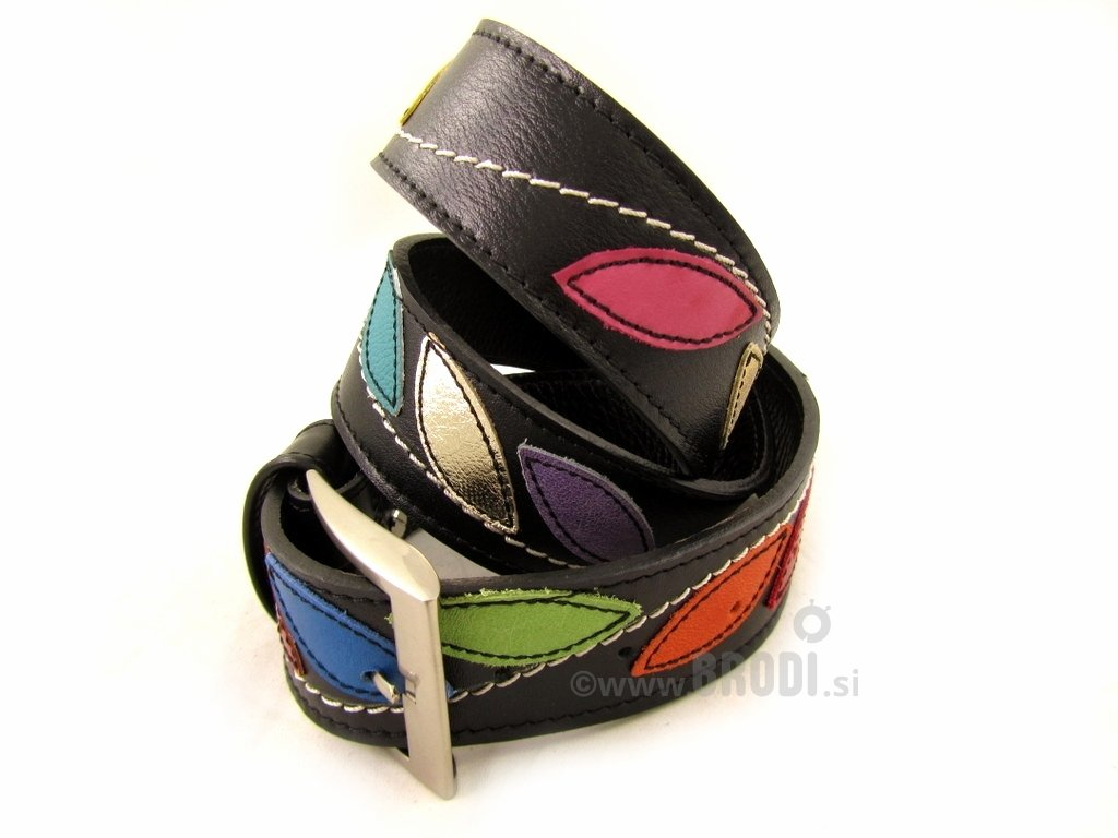 Leather Belt Kiri with Leaves