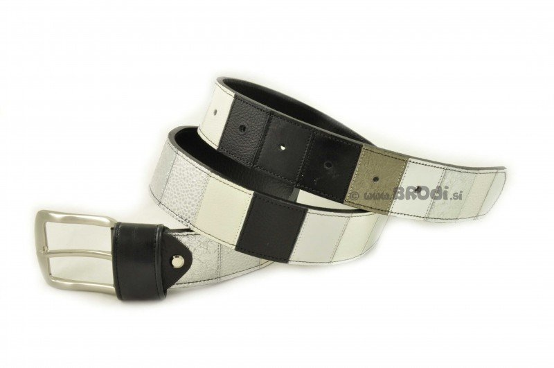 Leather Belt Kiri White and Black with Silver