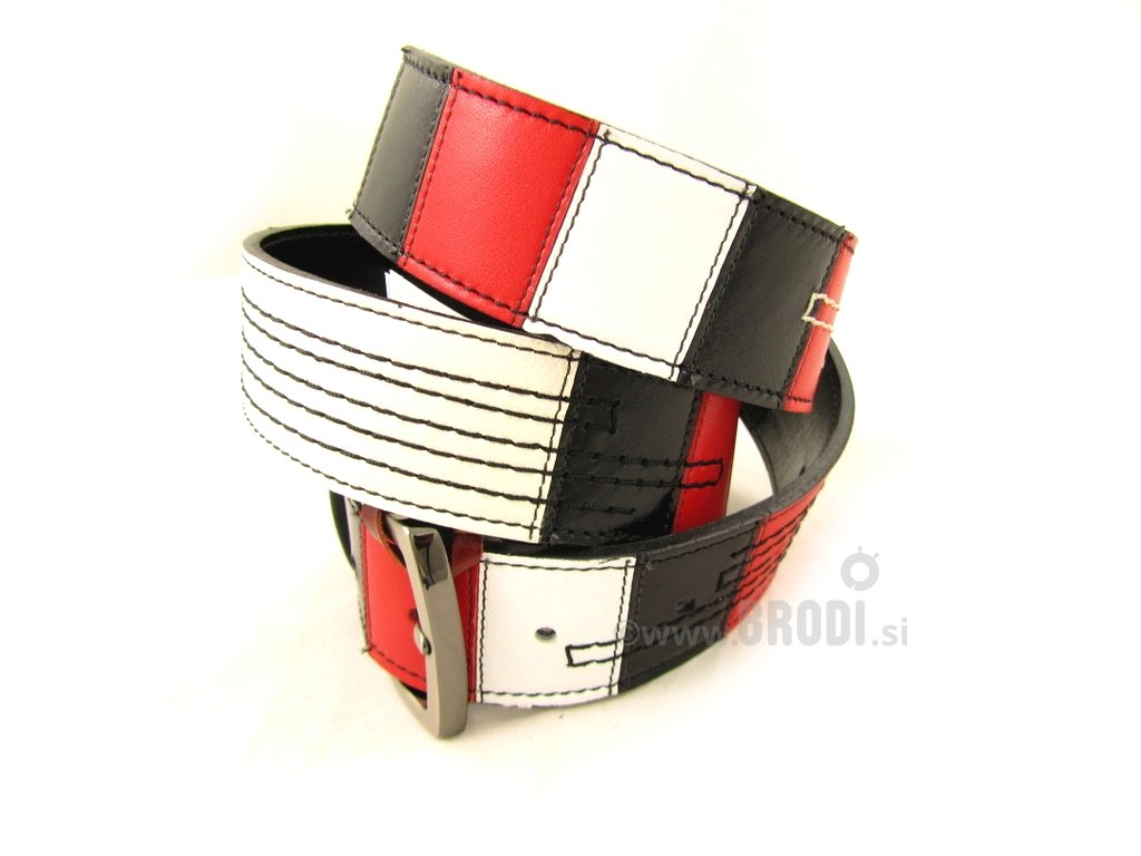 Leather Belt Kiri Black and White