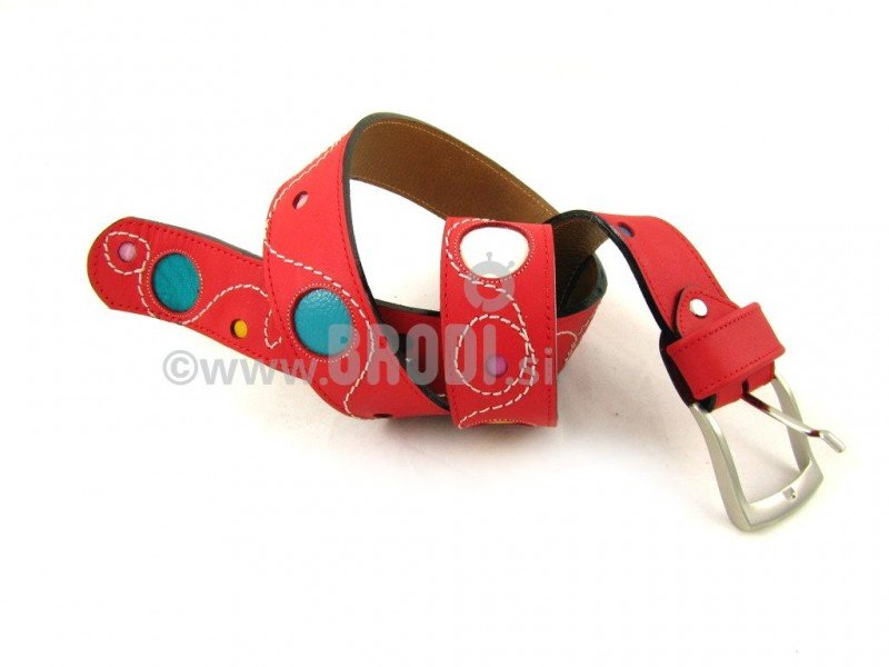 Leather Belt Kiri Red with Dots