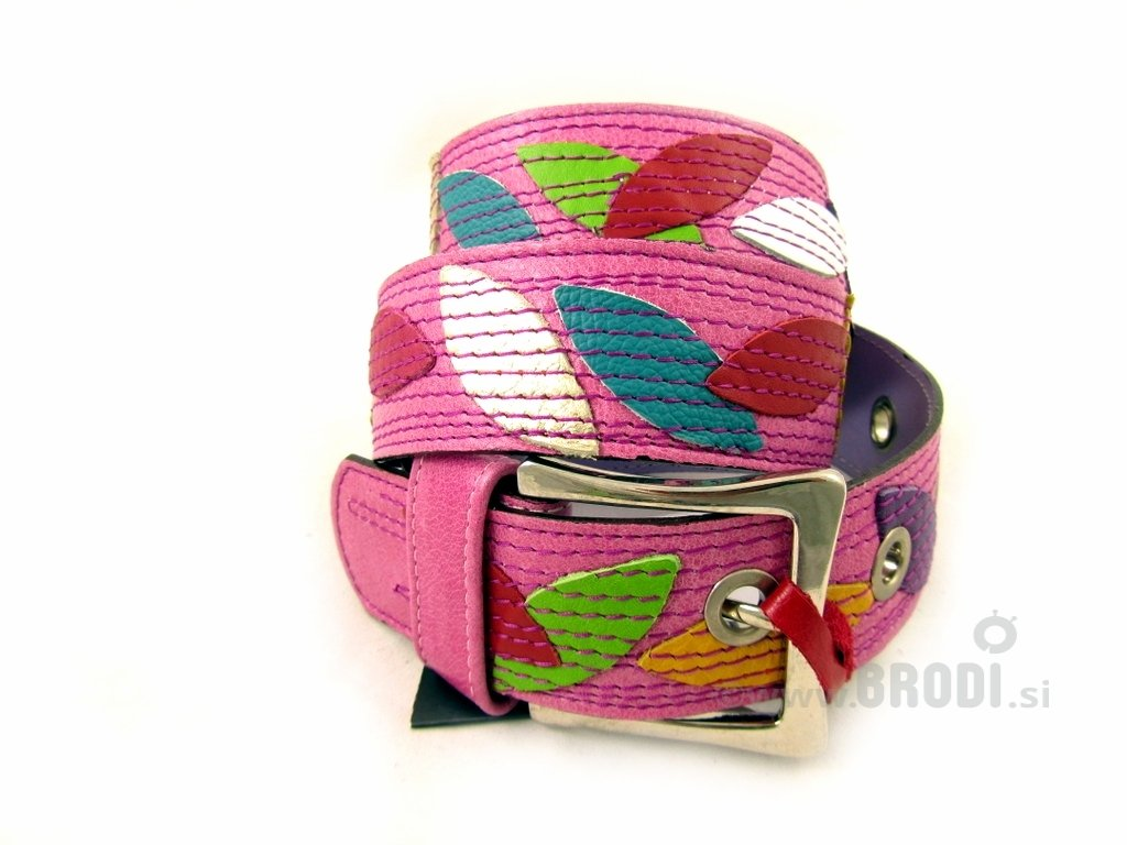 Leather Belt Kiri Pink with Leaves