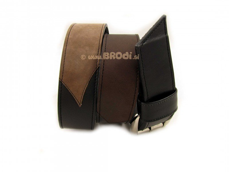 Leather Belt Kiri Light and Dark Brown