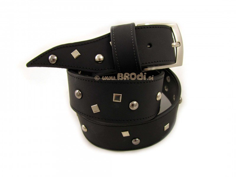 Leather Belt Kiri Black with Metal