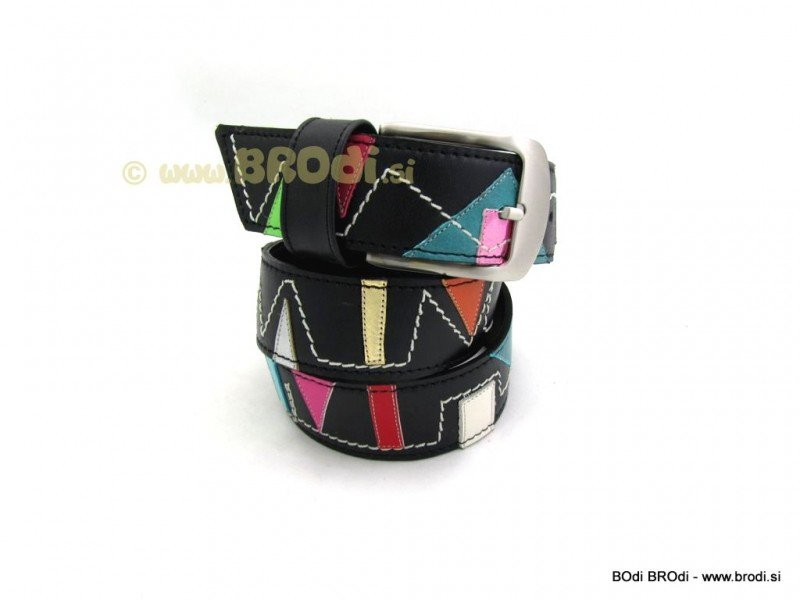 Leather Belt Kiri Black with Towers