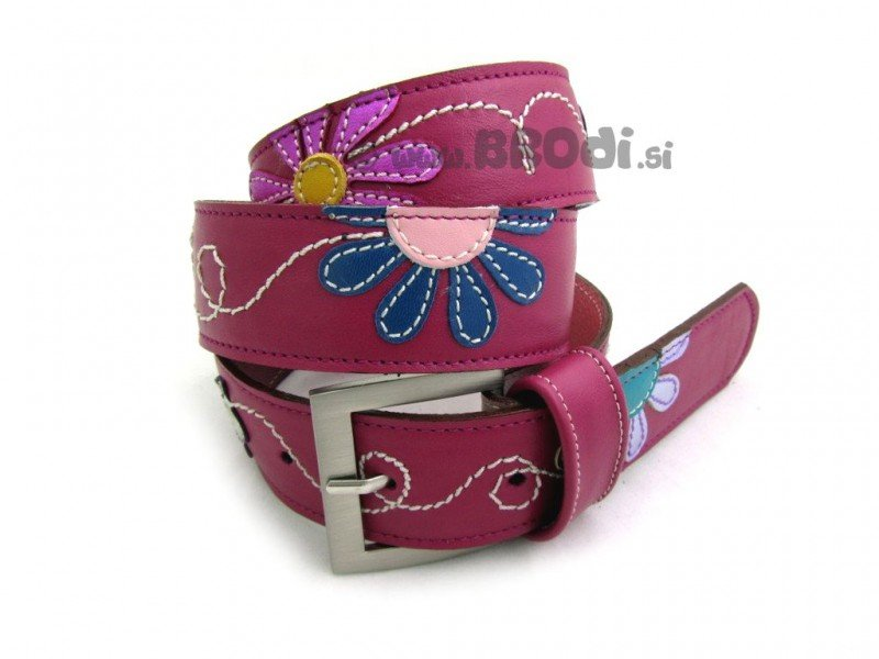 Leather Belt Kiri with Flowers