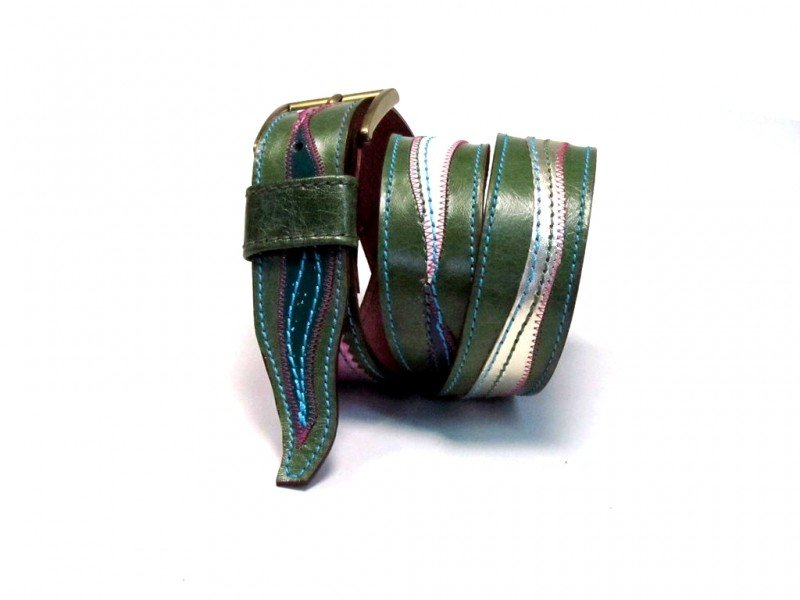 Leather Belt Kiri Green with Waves
