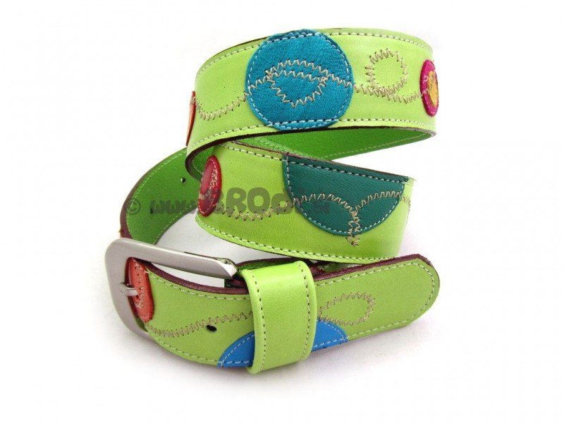 Leather Belt Kiri Green with Dots