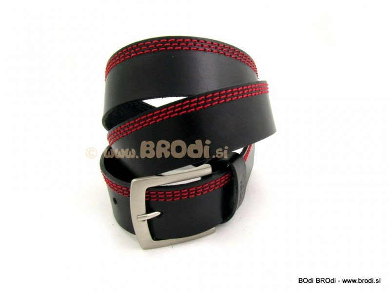 Leather Belt with Red Stitches
