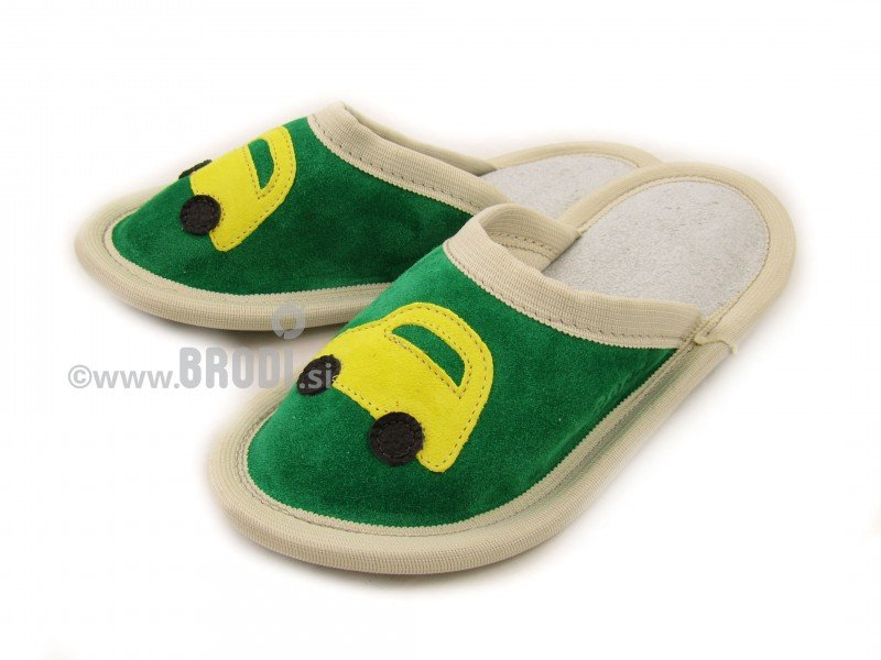 Leather Slippers Classic Green with Car