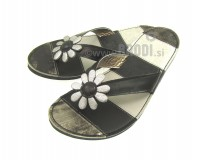 Flip-flops Mimi Silver White with Black - different decorations