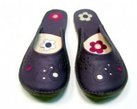 Ballerina Shoes Gaja Violet with Flowers