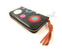 Wallet Flora Black with Circles