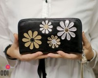 Wallet Flora Black with Flowers
