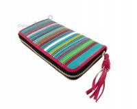 Wallet Flora Light Blue with Stripes