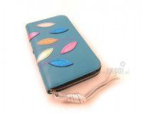 Wallet Flora Light Blue with Leaves