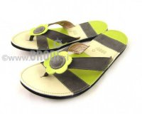 Flip-flops Mimi Beige and Grey Different Decorations