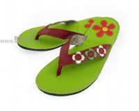 Flip-flops Mimi Green with Flowers