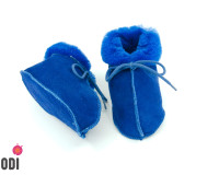 Natural Fur Baby Slippers Blue