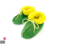 Natural Fur Baby Slippers Green