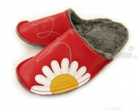 Natural Fur Slippers Mrasko Red with Flower