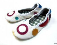 School Slippers White with Dots