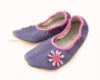 School Slippers Purple with Daisy