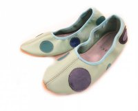 School Slippers light Blue with Circles