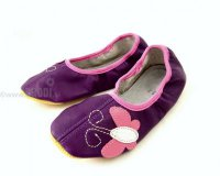 School Slippers Purple with Butterfly